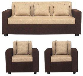 Gioteak Sofia 5 Seater Sofa Set in Cream Brown color (Acacia Wood)