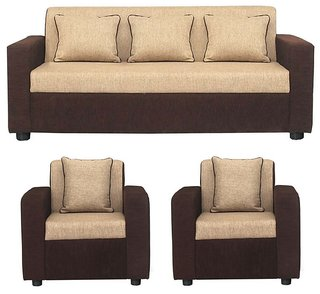 Gioteak Sofia 5 Seater Sofa Set in Cream Brown color (Acacia Wood)