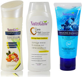 Pack of 3 Hair Care Shampoo, Conditioner, Face Wash-BY Nutriglow