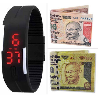 Combo of Robotic Magnetic Digital Led Watch , 500 Rupees Note Wallet And  1000 Rupees Note Wallet