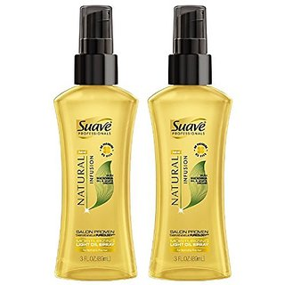 Suave Professionals Natural Infusion - Moisturizing Light Oil Spray - With Macadamia Oil & White Orchid - Net Wt. 3 FL O