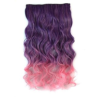 Stepupgirl 24 Inch Purple to Chisato Pink Ombre Color Curly Curl Wavy Full Head Synthetic Clip in Hair Extension with So