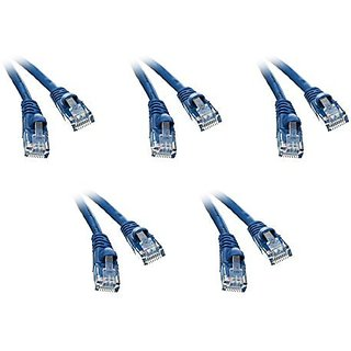 C&E Cat5e 7-Foot Ethernet Patch Cable, Snagless/Molded Boot, 5-Pack, Blue (CNE50512)