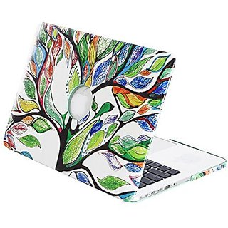 Mosiso PU Leather Coated Plastic Hard Case Cover with Pattern for MacBook Pro 13 Inch with Retina Display (Love Tree)