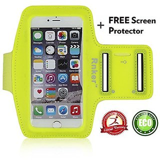 Rnker Water Resistant Sports Armband with Screen Protector and Key Holder for Iphone 6/6S, 5/5S/5C, Galaxy S7, S6, S6 Ed