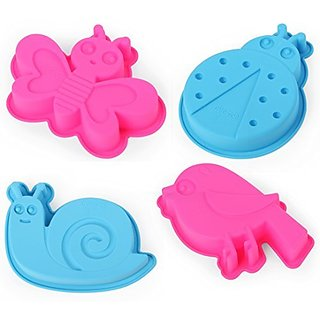 Home Value 4-Piece DIY Insect Silicone Cake Mold /Jelly Mold /Pudding Mold /Ice cream Mold, SNAIL, LADY BUG, BIRD, BUTTE