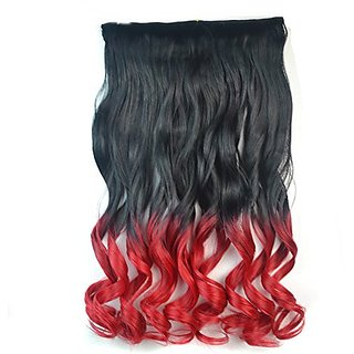 Stepupgirl 20 Inch Black to Bright Red Ombre Color Curly Full Head Synthetic Clip in Hair Extension with Souvenir Card