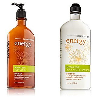 Bath and Body Works Aromatherapy Sleep Energy Sensual Stress Relief Sleep Lotion and Body Wash Set (Lemon Zest)