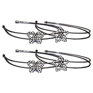 Rhinestone Metal Headband Set of 4 Stars Butterfly for Wife Women Girl Teens Young Girls Sister in Law Niece