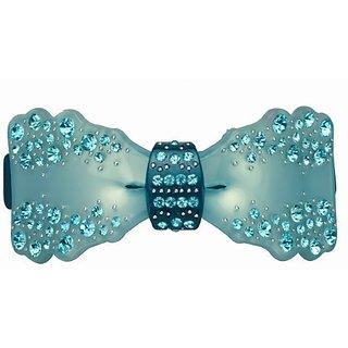 Stylish Bow Crystal Rhinestone Hair Barrette - Teal Blue