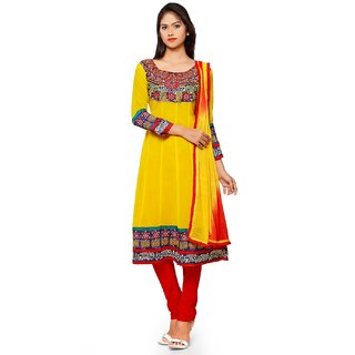 Aaina Yellow  Red Chiffon Embroidered Dress Material (SB-3293) (Unstitched)