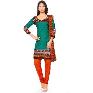 Aaina Green  Orange American Crepe Printed Dress Material (SB-3292)