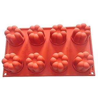 FOUR-C Cupcake Supplies Silicone Bakeware Flower Cake Baking Pans Color Purplish Red