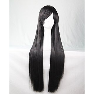 Womens Ladies Girls 80cm Black Color Long Straight Wigs Hair Carve Cosplay Costume Anime Party Bangs Full Sexy Wigs