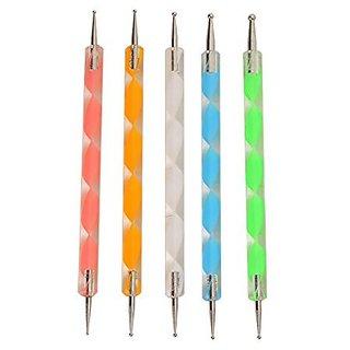 LOUISE MAELYS 5pcs 2-ways Double Ended Acrylic Nail Art Dotting Pen Painting Brush