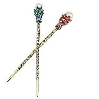 yueton Pack of 2 Rhinestone Pearl Hair Stick Vintage Hair Chopsticks Hairpin Chignon Pin