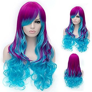Flovex Long Wavy Rose Red Blue Ombre Womens Sexy Anime Cosplay Wig Natural Curly Costume Party Daily Hair with Wig Cap