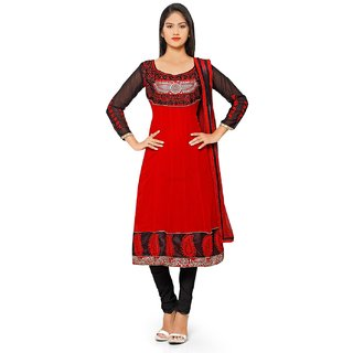 Aaina Red Georgette Embroidered Dress Material (SB-3286) (Unstitched)