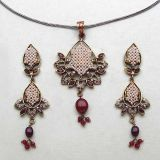 Johareez Ruby, American Diamond & Synthetic Pearl Gold Plated Pendant Set
