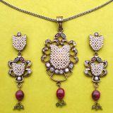 Johareez Emerald, Ruby & American Diamond Gold Plated Pendant Set