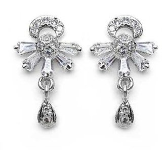 Johareez American Diamond Gold Plated Earrings