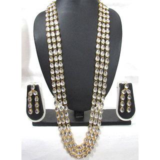 3 Line Long Kundan Necklace Set