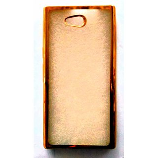 AR ACCESSORIES CROME TPU GOLDEN TRANSPARENT BACK COVER FOR LYF WIND 4