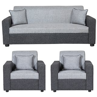 Gioteak Bulgariya 5 Seater Sofa Set In Black Grey Color 3+1+1
