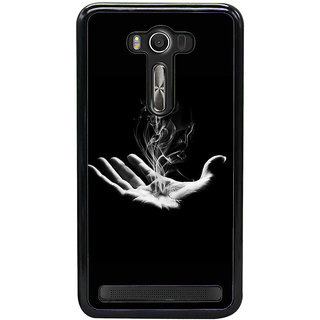 Fuson Designer Back Case Cover For Asus Zenfone 2 Laser ZE550KL (Palm Smoke Hand Fire Black)