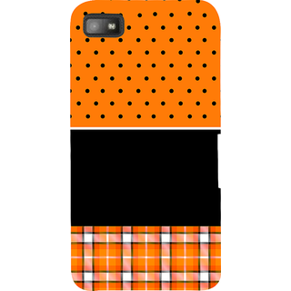 Snapdilla Orange Background Black Dot Stripes Pattern Best Cute Awesome Branded Cell Cover For BlackBerry Z10
