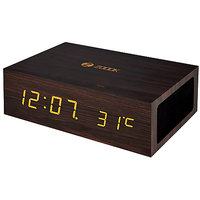 Zoook TIMEBLUE Wireless Stereo Speaker System with Wood Alarm Clock and Temperature Display Black