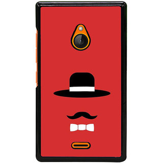 Fuson Designer Back Cover For Microsoft Lumia 540 Dual SIM (Black Hat Long Moustache Collar Red Charle Champlin)