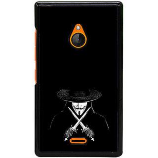 Fuson Designer Back Cover For Microsoft Lumia 540 Dual SIM (V For Vendetta  Anonymous  Mask  Blades  Black)