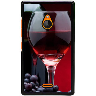 Fuson Designer Back Cover For Microsoft Lumia 540 Dual SIM (Wine Red Wine Glass Wine Bottle Red)