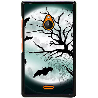 Fuson Designer Back Cover For Microsoft Lumia 540 Dual SIM (Full Moon Bats Tree Spider Web Dark Night)