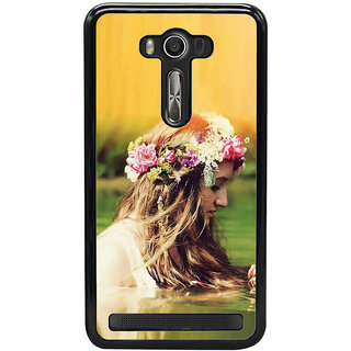 Fuson Designer Back Cover For Asus Zenfone 2 Laser ZE550KL (Girl With Tiara Model Girl Modern Girl Pretty Girl Gorgeous Girl)