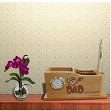 Personalised Laser Engraved Wooden Folding Pen Stand With Analog Clock