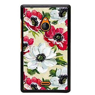 Fuson Designer Back Cover For Microsoft Lumia 540 Dual SIM (White  Flowers Red Leaves Green )
