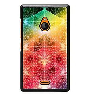 Fuson Designer Back Cover For Microsoft Lumia 540 Dual SIM (Shapes Triangles Squares Irregular Triangles Colourful Design)