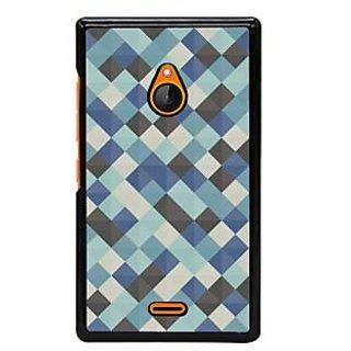 Fuson Designer Back Cover For Microsoft Lumia 540 Dual SIM (Checks Squares Crossed Lines Blue Black)