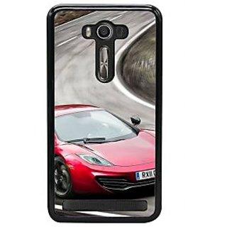 Fuson Designer Back Cover For Asus Zenfone 2 Laser ZE550KL (Red Car Stylish Car Stylish Red Car Black Road Blurred Road)