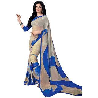 Swaron Blue,Beige Colour Georgette Saree 206S1015