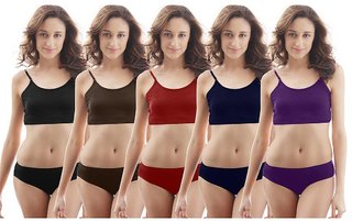 (Set of 5 Pec.)(Availabe in all sizes) Ladies Multicolor Cotton Panties Fine Quality