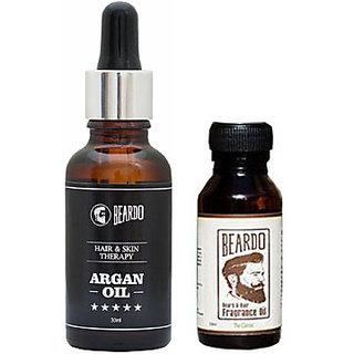 BEARDO ARGAN OIL - Hair  Skin Treatment Therapy Oil-Moisturizing  Conditioning (30ml) And Beardo The Classic Beard Fragrance Hair Oil (10ml) Combo.