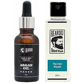 BEARDO ARGAN OIL - Hair  Skin Treatment Therapy Oil-Moisturizing  Conditioning (30ml) And Beardo The Irish Royale Beard Wash (50 ml) Combo.