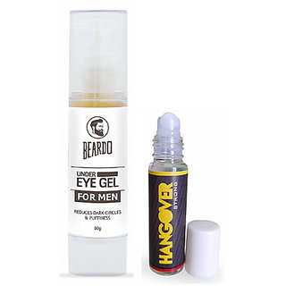 BEARDO Under Eye Gel for Men (50g) And HANGOVER Instant Stress and Headache Relief Roll-on(Strong-8ml) Combo.