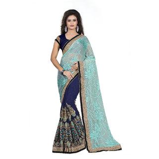 Aashvi Creation SkyBlue and Dark Blue Embroidery  Georgette Saree