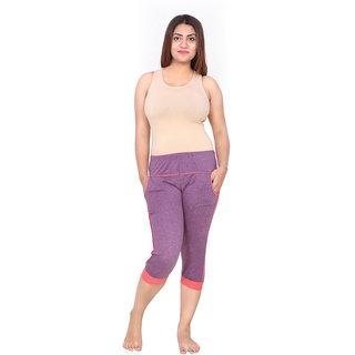 Be You Fashion Women Cotton Hosiery Purple color Two-Tone Capri