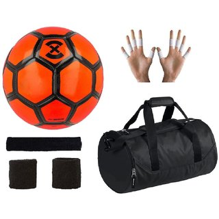Shoppers Strike X Orange Football (Size-5) with Gym Duffle Bag Combo