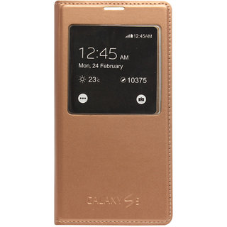 ENVY S View Sensor Leather Flip Cover for Samsung Galaxy S5 G900 (Gold)